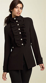 Mac & Jac Ruffle Front Military Jacket