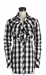 Central Park West Griffin Plaid Ruffle Shirt