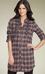 Hinge® Ruffled Plaid Tunic