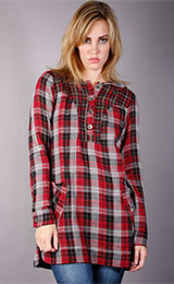 Yag Couture Plaid Hooded Dress Shirt