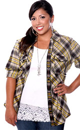 Yellow and Black Plaid Flannel 3/4-Sleeve Shirt
