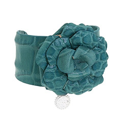 Jessica Simpson Leather Rose Cuff Bracelet