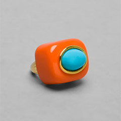 Kenneth Jay Lane Oval Ring in Coral/Turquoise