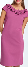 Taylor Dresses Rosette Trim Ponte Knit Dress