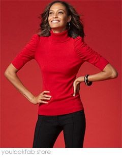 INC Puff Sleeve Turtleneck Sweater