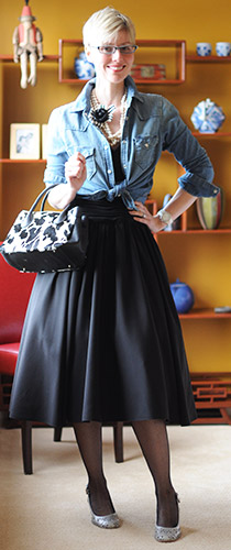 Denim Shirt with Ball Gown