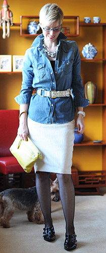 Denim Shirt with Dressy Skirt