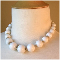 Milk Glass Beaded Necklace