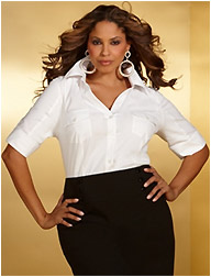 Plus Size Shirt with Elbow Length Tabbed Sleeves
