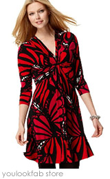 Rose Dot Fan Print Dress