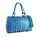 New Faux Leather Domino Bowler Handbag Purse with Metal Studs