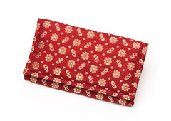 Cherry Red Floral Silk Fabric Clutch