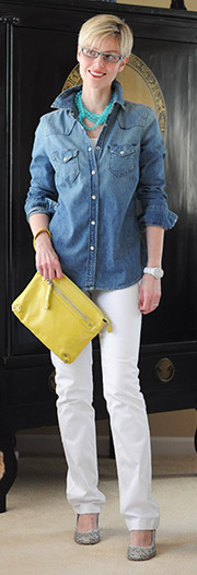 Denim on denim: denim shirt with white jeans - YLF