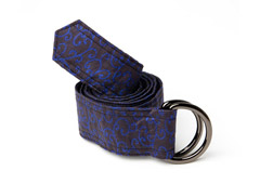 Midnight Blue Vines Fabric Belt