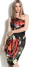 Forever Unique One Shoulder Floral Print Dress