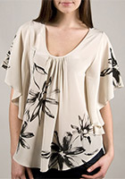 Flutter Top with Print in Cream and Black