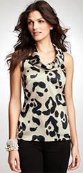 Silk Charmeuse Animal Print Blouse