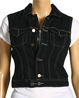 Black Stretch Denim Vest
