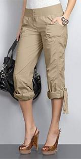 Cotton Poplin Roll Hem Pants
