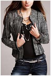 Embellished Zip-Front Tweed Jacket