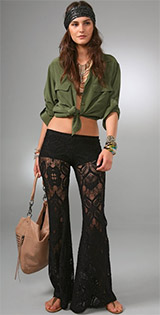 Lace Bell Bottom Pants - Black