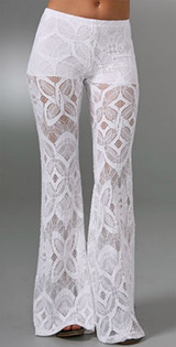 Lace Bell Bottom Pants - White