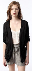 Short Sleeve Roll-Cuff Open Cardigan