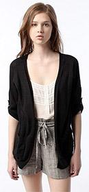 Short Sleeve Roll-Cuff Open Cardigan