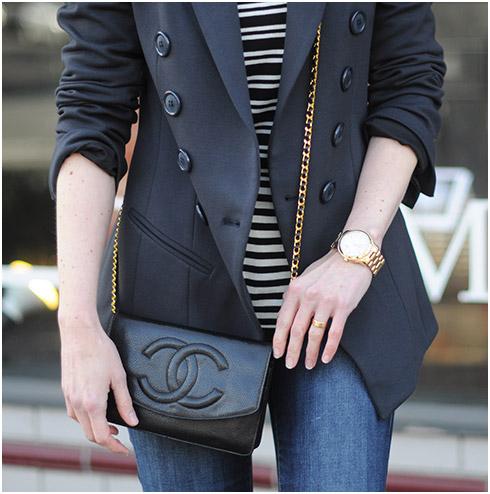 Black blazer gold watch