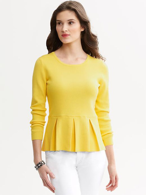 Peplum tops have a little skirt of fabric below the waist that flares and moves, creating curves where they are needed, and covering up too much curve where they are not. The tops create balance and are perfect for any occasion. A long-sleeve peplum top is the perfect addition for the plus-size figure.