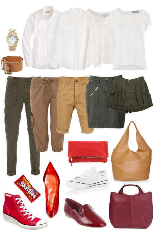Combat Pants, White Top and Red Accents