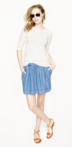 Lightweight Washed Chambray Skirt