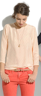 Madewell Silk Front Tee in Colorpoint
