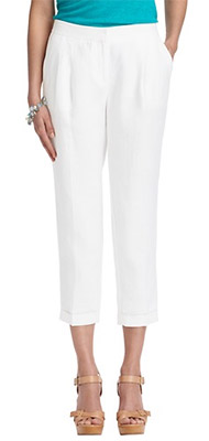 Marisa Cuffed Cropped Pants in Linen