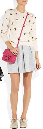 Pleated Cotton Blend Jersey-Mini-Skirt