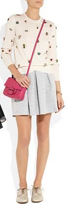 Pleated Cotton Blend Jersey-Mini-Skirt