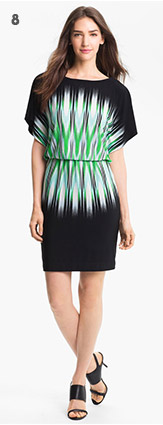 Print Blouson Jersey Dress