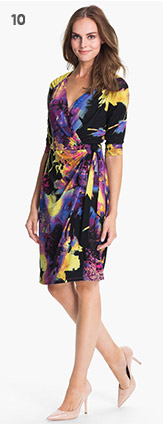 Print Faux Wrap Dress