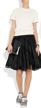 Reversible Ruffled Mesh and Taffeta Circle Skirt