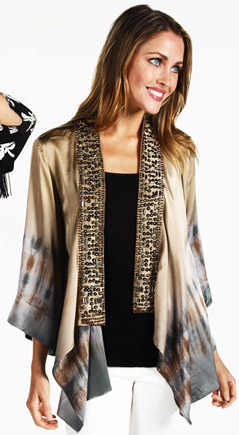 Hale Bob Metallic Touches Silk Charmeuse Jacket