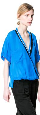 Zara Tri-color Crossover Blouse