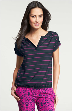 Ann Taylor Striped Split Neck Bubble Hem Top