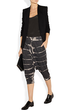 Cropped Tie Dye Cotton Blend Jersey Pants