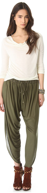 Draped Jersey Harem Pants