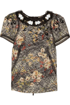 Embellished Printed Silk Crepe-de-Chine-Top