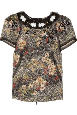 Embellished Printed Silk Crepe-de-Chine-Top
