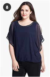 Evans Embellished Cold Shoulder Bubble Blouse