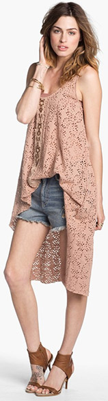 Free People Tunic, Bandeau & Denim Cutoff Shorts