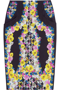 Frida Printed Silk Crepe Pencil Skirt