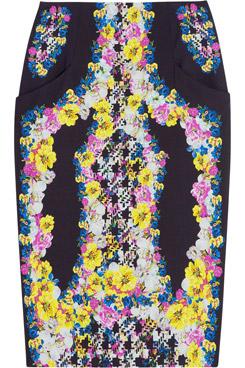 Frida Printed Silk Crepe Pencil Skirt